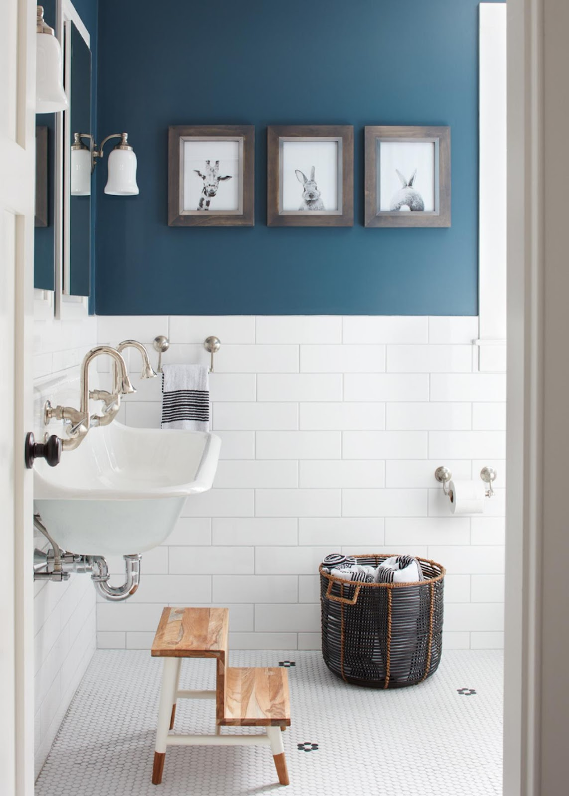 use baskets to store extra items in the bathroom