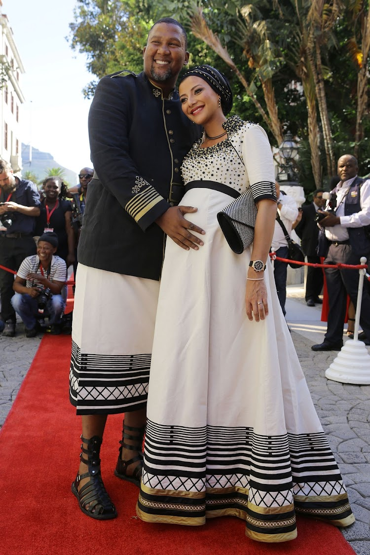 Mandla Mandela and his wife Nodiyala at the 2017 state of the nation address.