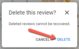 how to delete a Google review - Step 5