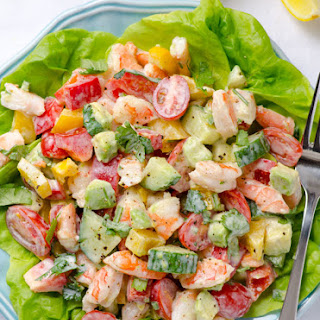 Shrimp Avocado Tomato Salad with Greek Yogurt Dressing.