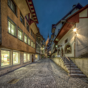 Old Town Zug by Jessica Meckmann - City,  Street & Park  Vistas ( hdr, twilight, buildings, old-town, roads, city )