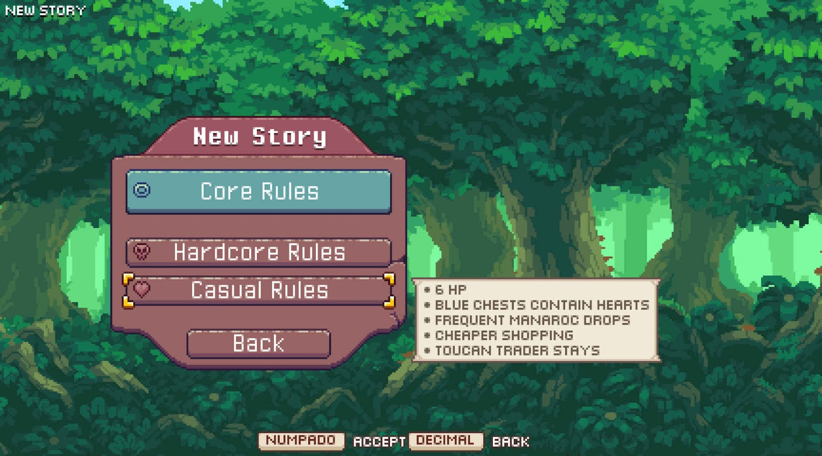 The main menu showing three difficulty levels.