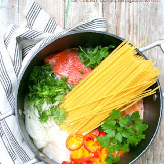 One Pot Salmon Coconut Curry Pasta.