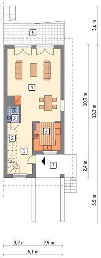 Szczupły - wariant III bliźniak, podpiwniczony - BCC203c - Rzut parteru