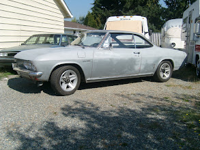 "Photo: 1966 Corvair Corsa w/ 15"" Camaro Alloy wheels.  Darker silver area on the lower door is the original Chateau Slate silver metallic paint."