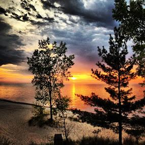 Sunset at Indiana Dunes National Lakeshore by Karen Carnahan - Landscapes Sunsets & Sunrises ( lake michigan, indiana dunes, sunset, beach, beverly shores )