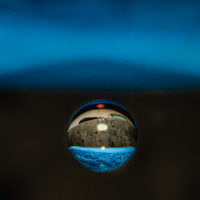 World in a water drop by Aditi Dinakar - Abstract Water Drops & Splashes ( canon, water, reflection, blue, handheld, world, droplets, water drop )