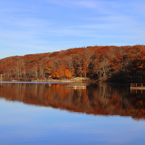 Fall reflection by Janet Smothers - Landscapes Waterscapes