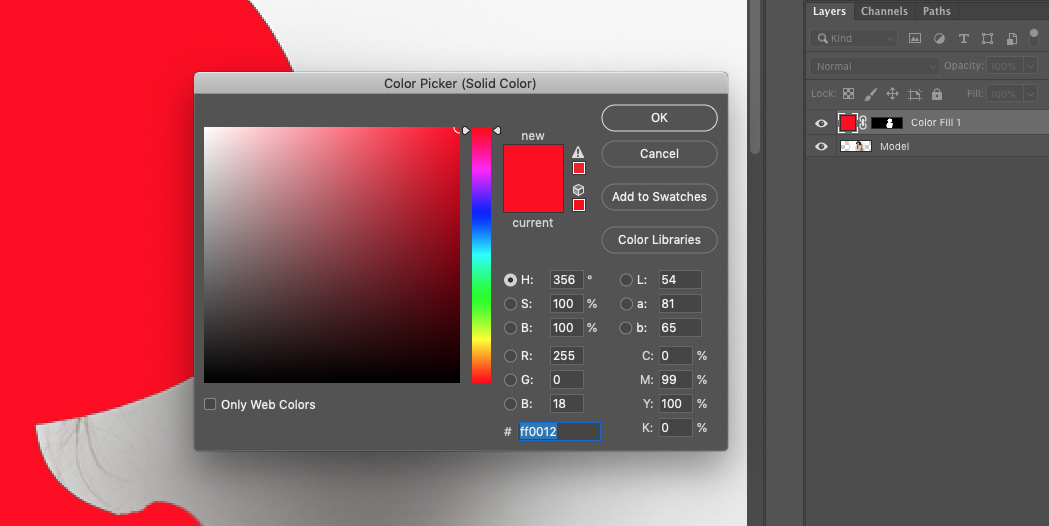 Change the Background Color in Photoshop using a Solid Color Fill Layer