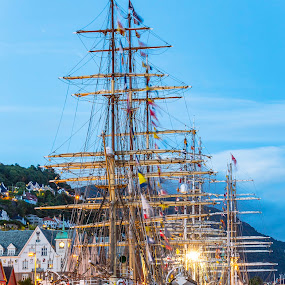by Atle Rasmussen - City,  Street & Park  Night ( sailboat, harbour, flag, night, norway, ship, bergen, boat, summertime )
