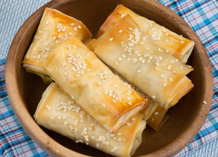 Feta-stuffed phyllo parcels.
