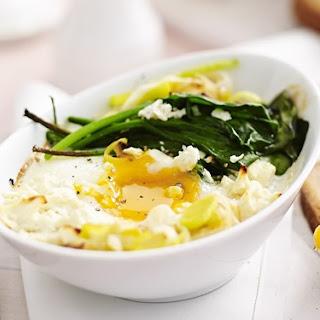 Feta, Leek And Spinach Baked Eggs