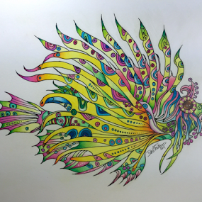 Fin Tangle by Dave Feldkamp - Drawing All Drawing ( colored pencil, lion, doodles, tangles, fish, art, loin fish, dave feldkamp, zentangle, drawing,  )