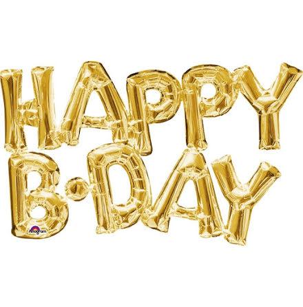 Folieballong - Happy b-day, guld