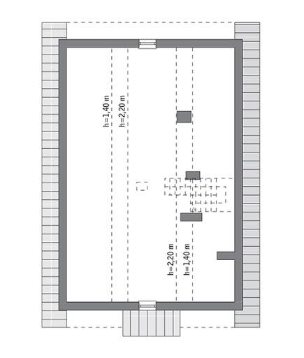 Własny dom - wariant I - C303a - Rzut poddasza do indywidualnej adaptacji (47,5 m2 powierzchni użytkowej)