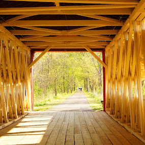 by Beth Collins - Buildings & Architecture Bridges & Suspended Structures ( north lewisburg, ohio, inside, path, couple, walkway, pottersburg covered bridge, north lewisburg bridge, country,  )