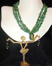 Photo: INNOCENCE - НЕВИННІСТЬ - copper enamel pendant, aventurine, rose gold vermеil hook clasp/beads/French wire earrings *Silent Auction donation