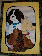 Photo: A one block wall hanging of three dogs from HBH108 Doggy Daycare. Shows how you can take your favorite dogs and make a single wall hanging for that special friend depicting their favorite dog.