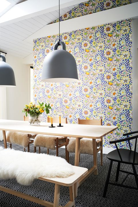 Gorgeous floral wallpaper for accent wall.