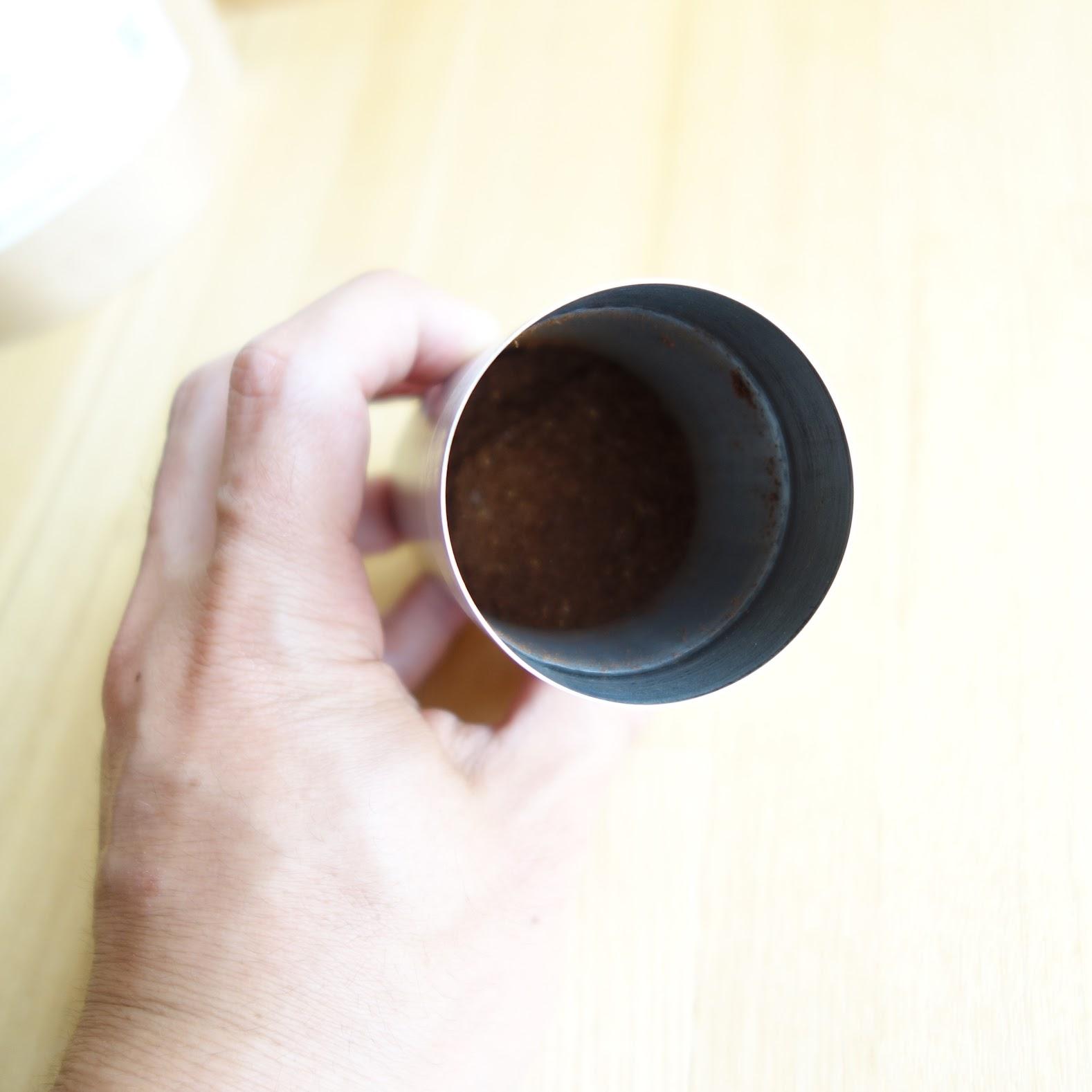 ポーレックス コーヒーミル2 豆を挽き終わった状態