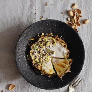 Grilled Pineapple with Coconut Whipped Cream + Toasted Pistachios.