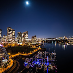 Vancouver from the Burrard Street bridge by GThomas Muir - City,  Street & Park  Night ( moon, ocean, night, cityscape, landscape, vancouver, city )