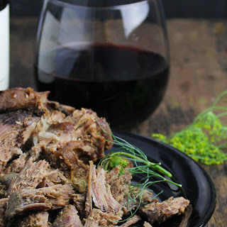 Mustard and Thyme Pulled Leg of Lamb.