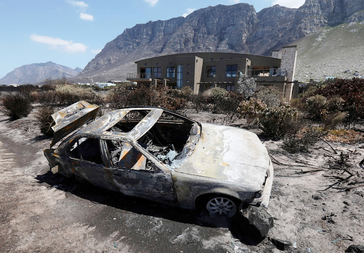 A burnt-out car in Betty's Bay on Saturday January 12 2019.