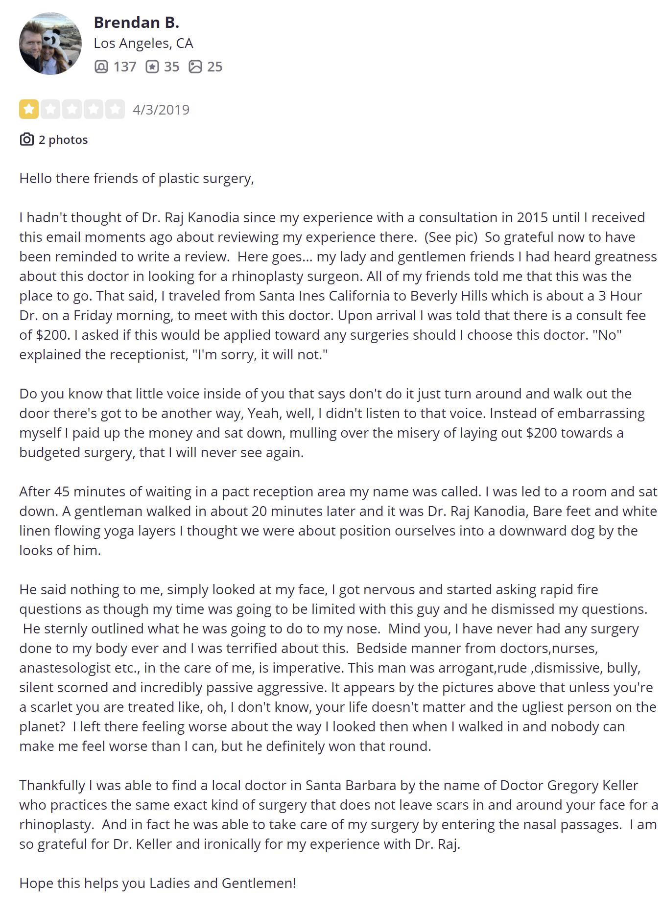 Dr. Raj Kanodia Rhinoplasty & Medspa review