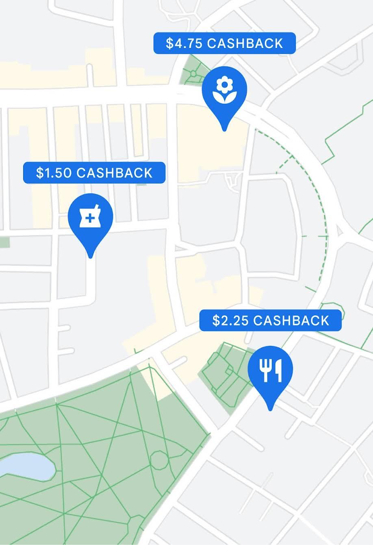 Three cashback amounts shown on a map
