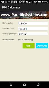 PMI Private Mortgage Insurance screenshot