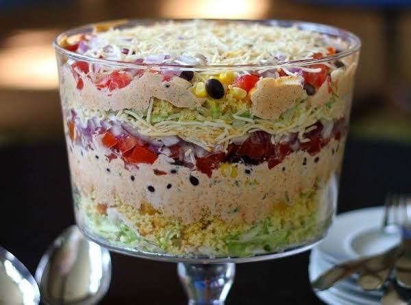 I Had To Borrow This Picture Online Since I Haven't Yet Taken A Picture Of My Salad...but This Is The General Look!  Isn't It Pretty In The Trifle Bowl!