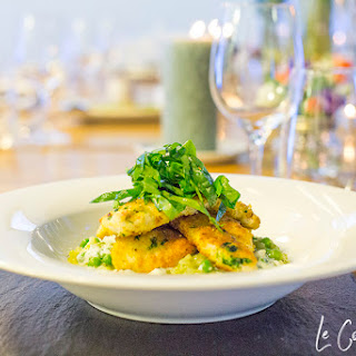 Gremolata Chicken with Pea Risotto & Lemon Spinach.
