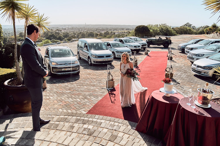 Leze Hurter Neale-May and her husband, Jarryd, who were married at La Colline in Port Elizabeth in 2017, recreated their wedding for a photo shoot to publicise drive-through ceremonies at the venue.