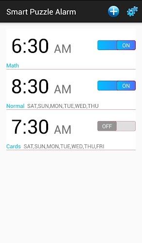 Smart Puzzle Alarm Android App Screenshot