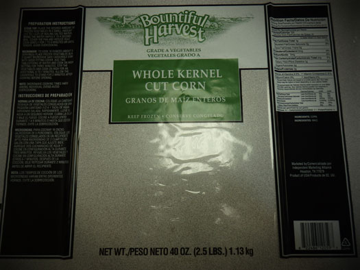 Front Label of Bountiful Harvest, Whole Kernel Cut Corn,  40 oz.