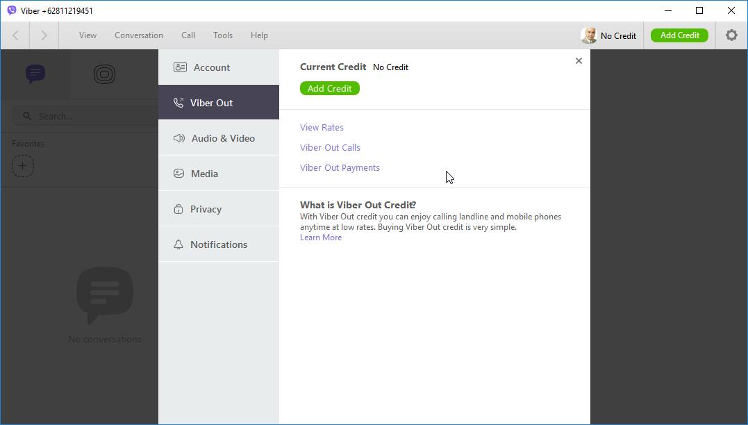 thumbapps.org Viber Portable, Settings -> Viber Out