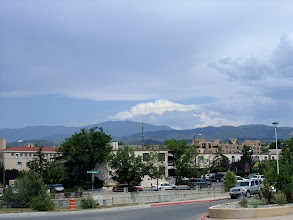 Photo: Looking back towards the Pecos Wilderness from near the train station in Santa Fe.