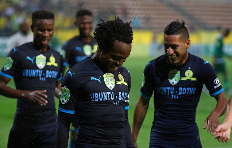 Percy Tau of Mamelodi Sundowns celebrates goal with teammates during the 2018 Nedbank Cup Last 32 football match between Cape Town All Stars and Mamelodi Sundowns at Athlone Stadium, Cape Town on 9 February 2018.