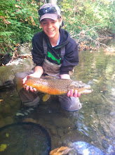 Photo: Carson French with another beauty from his 1st guide trip on the Mad. He's hooked on trout fishing in Ohio!