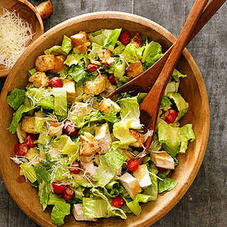 Chicken Caesar Salad with Parmesan Croutons.