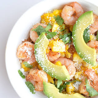 Fresh-Mex Shrimp and Corn with Cotija Cheese.