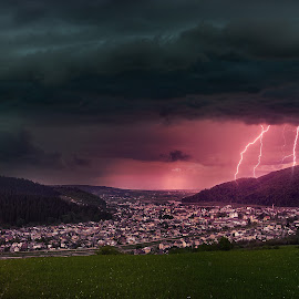 Stormy by Robert Ungurianu - Digital Art Places ( lightning, sky, lightening, storm, town, clouds, night scene )