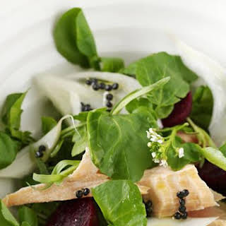 "Salmon, Watercress, Fennel and Baby Beetroot Salad With Lemony ""Caviar"" Dressing."