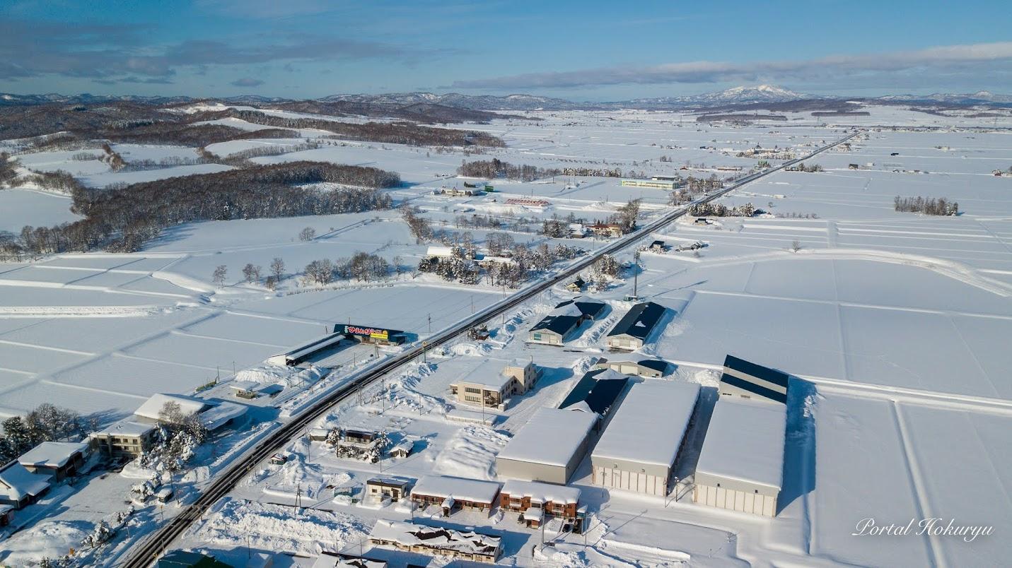 北竜町冬景色ドローン撮影:JAきたそらち北竜支所