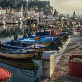 the end of the fisherman's day by Mara R. Sirako - City,  Street & Park  Neighborhoods ( port, piran, ship, fish, pirano, mandrac, pier, fishing, boat, fisherman,  )