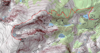 Photo: Topo map showing the trail and route up Hallett Peak.