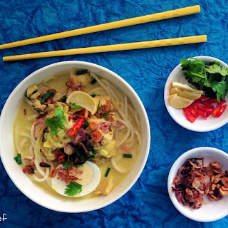 Burmese Khow Suey (noodles in a curried coconut sauce)