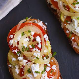 Zucchini Tomato and Feta Bruschetta.