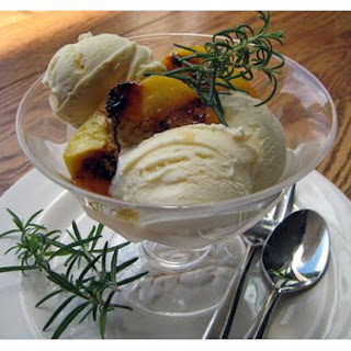 Rosemary Ice Cream With Grilled Peaches